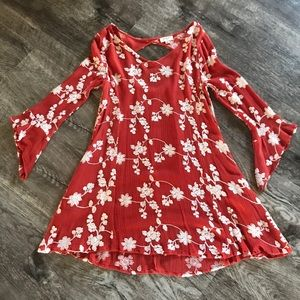 Flared sleeve mini dress with flower detail